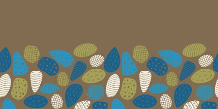 Vector colorful shape seamless border in brown. Simple doodle rock with texture hand drawn made into repeat. Great for invitations, decor, packaging, ribbon, greeting cards, stationary, kids design