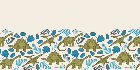 Vector dino seamless border in beige. Simple doodle dinasaur, leaf and rock hand drawn made into repeat. Great for invitations, decor, packaging, ribbon, greeting cards, stationary, kids design