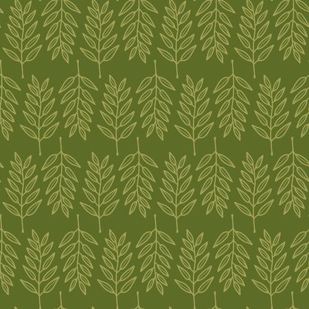 Vector geometric nature seamless pattern in green. Simple doodle sprig with leaves hand drawn made into repeat. Great for background, wallpaper, wrapping paper, packaging, fashion. Stock Illustratie