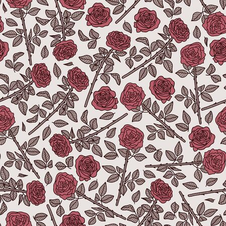 Vector pastel floral seamless pattern in pink. Simple doodle rose hand drawn made into repeat. Great for background, wallpaper, wrapping paper, packaging, valentines day.