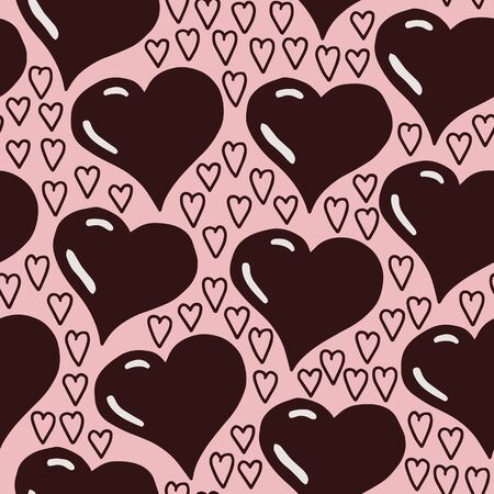 Vector love seamless pattern in pink. Simple doodle heart shape hand drawn made into repeat. Great for background, wallpaper, wrapping paper, packaging, valentines day.