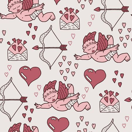 Vector pastel love seamless pattern in pink. Simple doodle angel, bow, heart hand drawn made into repeat. Great for background, wallpaper, wrapping paper, packaging, valentines day.