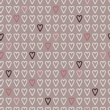 Vector geometric love seamless pattern in pastel. Simple doodle heart hand drawn made into repeat. Great for background, wallpaper, wrapping paper, packaging, valentines day. Stock Illustratie