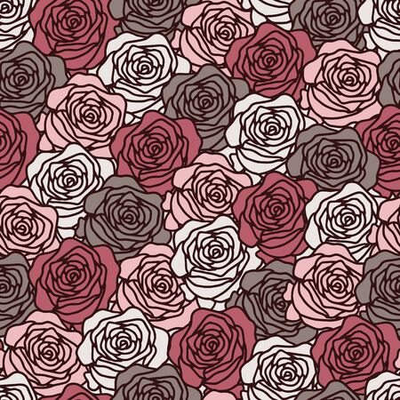 Vector floral dense seamless pattern in pink. Simple doodle rose hand drawn made into repeat. Great for background, wallpaper, wrapping paper, packaging, valentines day.