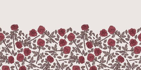 Vector floral seamless border in pink. Simple doodle rose hand drawn made into repeat. Great for invitations, decor, packaging, ribbon, greeting cards, stationary, valentines day.