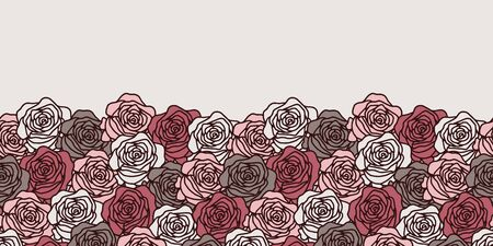 Vector floral seamless border in pastel. Simple doodle rose hand drawn made into repeat. Great for invitations, decor, packaging, ribbon, greeting cards, stationary, valentines day.