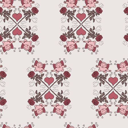 Vector geometric love seamless pattern in pastel. Simple doodle heart, angel, rose hand drawn made repeat. Great for background, wallpaper, wrapping paper, packaging, valentines day.