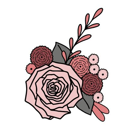 Vector floral placement print. Simple doodle rose and leaf hand drawn. Great for invitation, tshirt print, sticker, decor, valentines fashion.