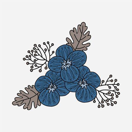 Vector flower placement print. Simple doodle pansy and leaf hand drawn. Great for invitation, tshirt print, sticker, decor, fashion. Illusztráció