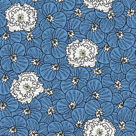 Vector floral pattern in blue and white. Simple pansy and peony flower hand drawn made into repeat. Great for background, wallpaper, wrapping paper, packaging, fashion.
