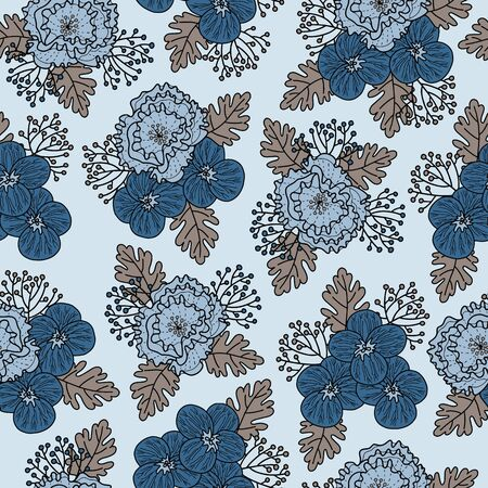 Vector floral pattern in blue and gray. Simple pansy and peony bouquets hand drawn made into repeat. Great for background, wallpaper, wrapping paper, packaging, fashion.
