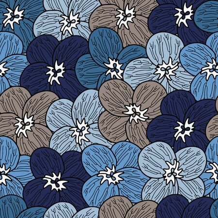 Vector floral dense pattern in blue and gray. Simple pansy flower hand drawn made into repeat. Great for background, wallpaper, wrapping paper, packaging, fashion. Illusztráció