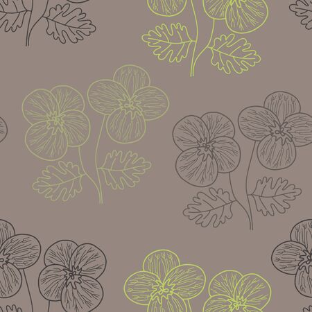 Vector floral texture pattern in brown and green. Simple outline pansy flower bush hand drawn made into repeat. Great for background, wallpaper, wrapping paper, packaging, fashion. Illusztráció