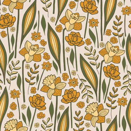 Vector floral easter pattern in yellow and green. Simple doodle flowers and leaves made into repeat. Great for background, wallpaper, wrapping paper, packaging, fashion. Ilustração