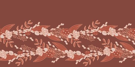 Vector floral border in pink and red. Simple doodle flowers and leaves molded into a decorative line. Great for invitations, decor, packaging, ribbon, greeting cards, stationary.