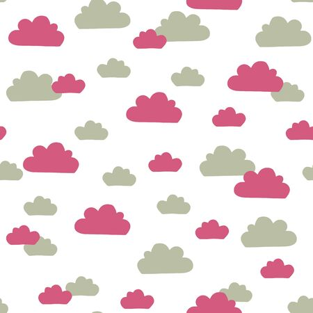 Vector sky pattern in pink and green. Simple doodle clouds made into repeat. Great for background, wallpaper, wrapping paper, packaging, fashion. Illustration