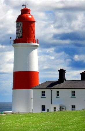 coast guard: Newcastle Red and White Lighthouse                          Stock Photo