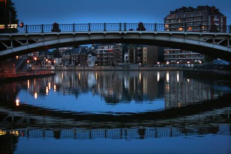 Bridge over the river in belgium, night reflections. Stock Photo - 3800175