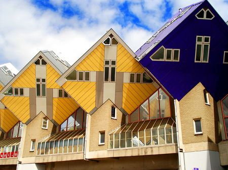 Yellow and blue houses in rotterdam Stock Photo - 3807789