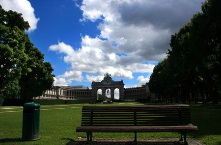 Brussels green park with gate of the independence. photo