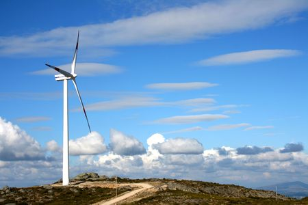 Blue sky and modern windmill