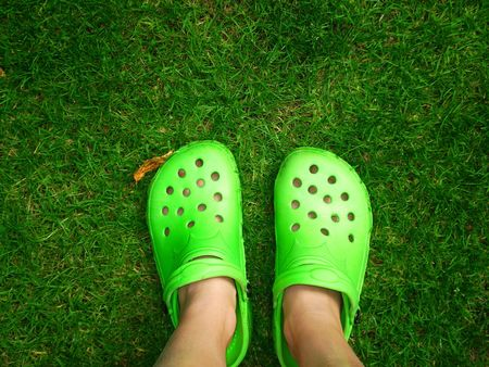 Two feet on a green meadow