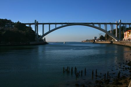 afterglow: Brige over the douro river in Portugal