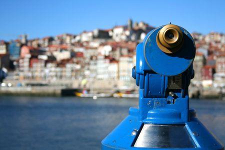 Porto views trough a blue telescope Stock Photo - 3886235