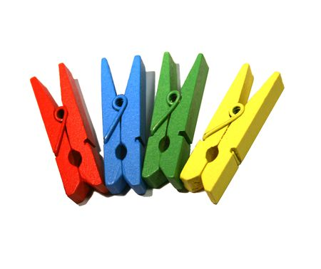 White isolated colored wood clothespin