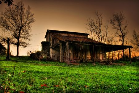 Rural wood cabin by night on a meadow photo