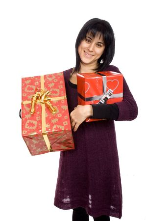 young woman giving or receving a red present