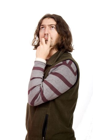 young man thinking isolate Stock Photo - 3974292