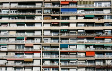 big building with colored balconies in Barcelona