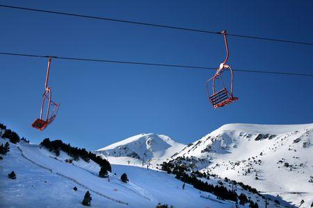 ski lift chair on a snowed pyrinees