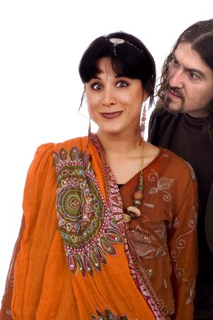 etnic: Strange couple, agressive man and scared etnic woman