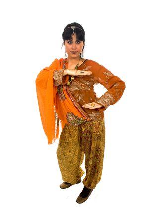 ethnic dress: Giovane donna bella bianco isolare vestito etnico Archivio Fotografico