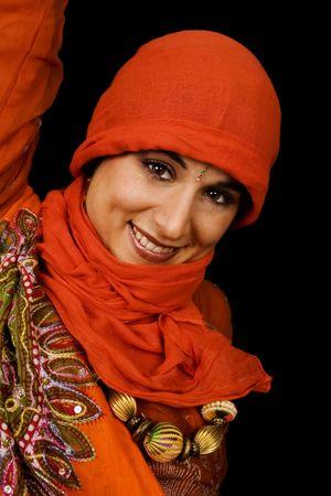 etnic: Young beuatiful woman black isolate etnic dress Stock Photo