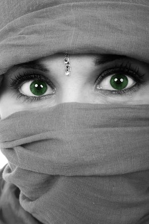 Black and white green eyes