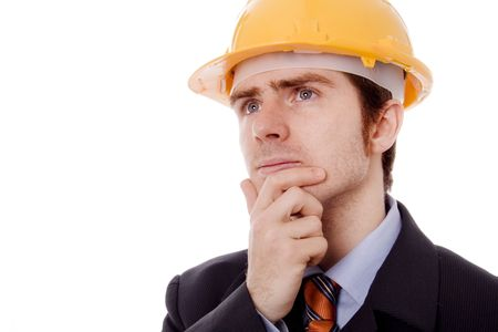 young business man with yellow helmet white isolate Stock Photo - 4414777