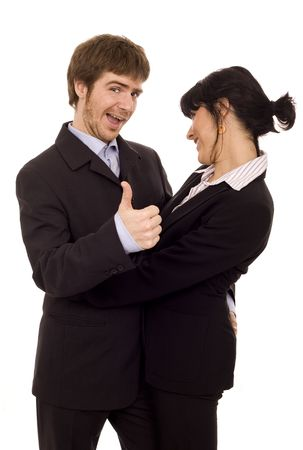 Young business couple with lucky guy