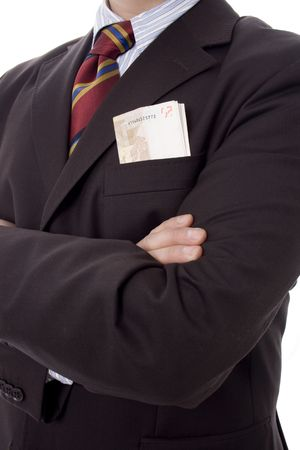 Business man with money in  pocket