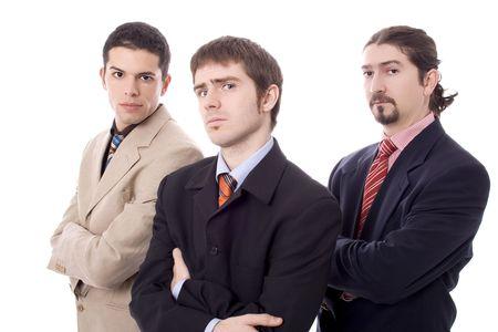 Three business serious men white isolate Stock Photo