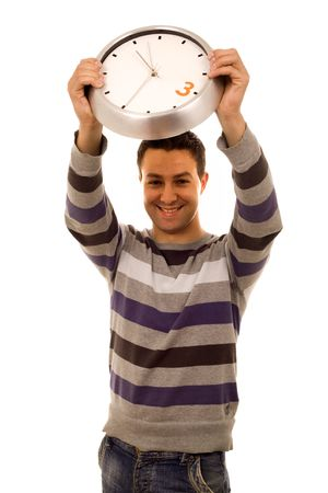 young casual man with clock white isolate photo