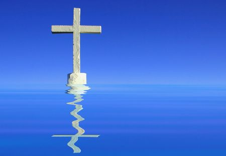White cross on a rock Stock Photo - 4873103