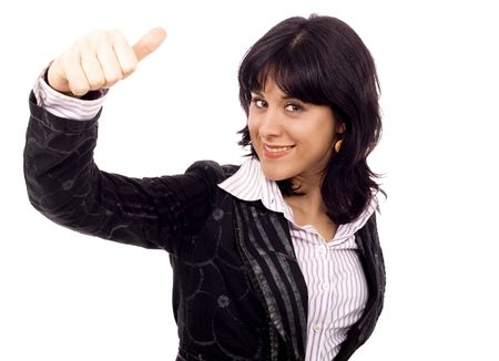 Ok sign of business woman white isolate Stock Photo - 4867657