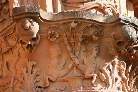 Detail of the most famous place of Salamanca, the hiden frog.
