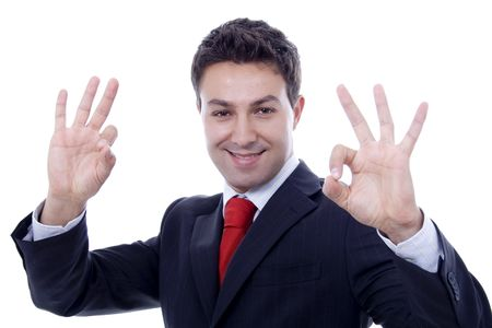 man with ok expression white isolate portrait Stock Photo