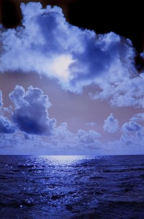 dark sky over the dark ocean Stock Photo - 5097237