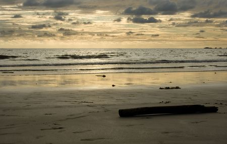 evening summer sun on the beach photo