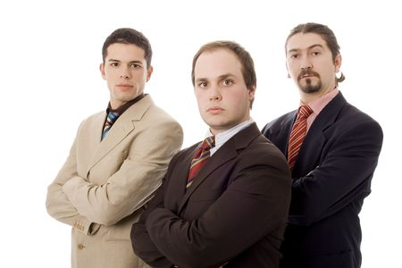mujer: three business men white isolate